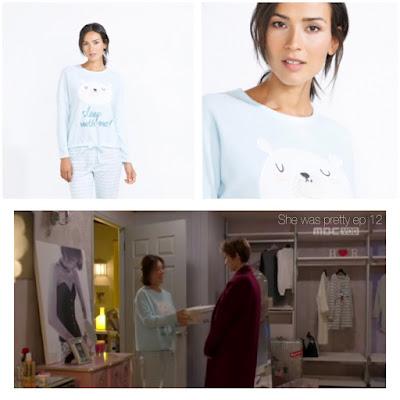She was pretty (그녀는 예뻤다) Korean drama tv series Women' secret baby blue pyjama with white bear and striped pants Hwang jung eum (Kim Hye Jin)