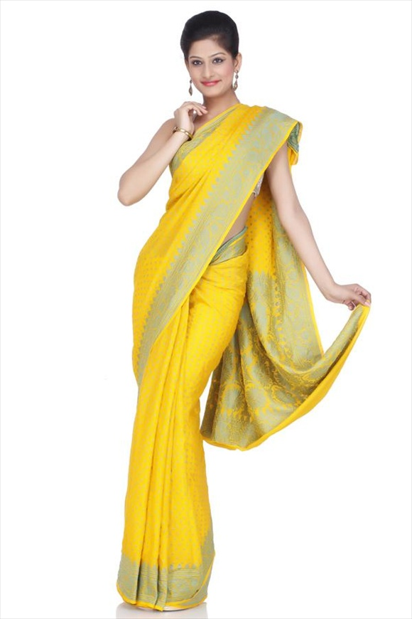 Chrome Lemon Mysore Banarasi Saree