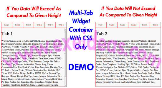 Multi-Tab Widget Container With CSS Only For Blog And Website.