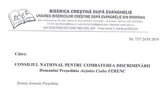 Adresa BCER–UBCE către Consiliul Național pentru Combaterea Discriminării