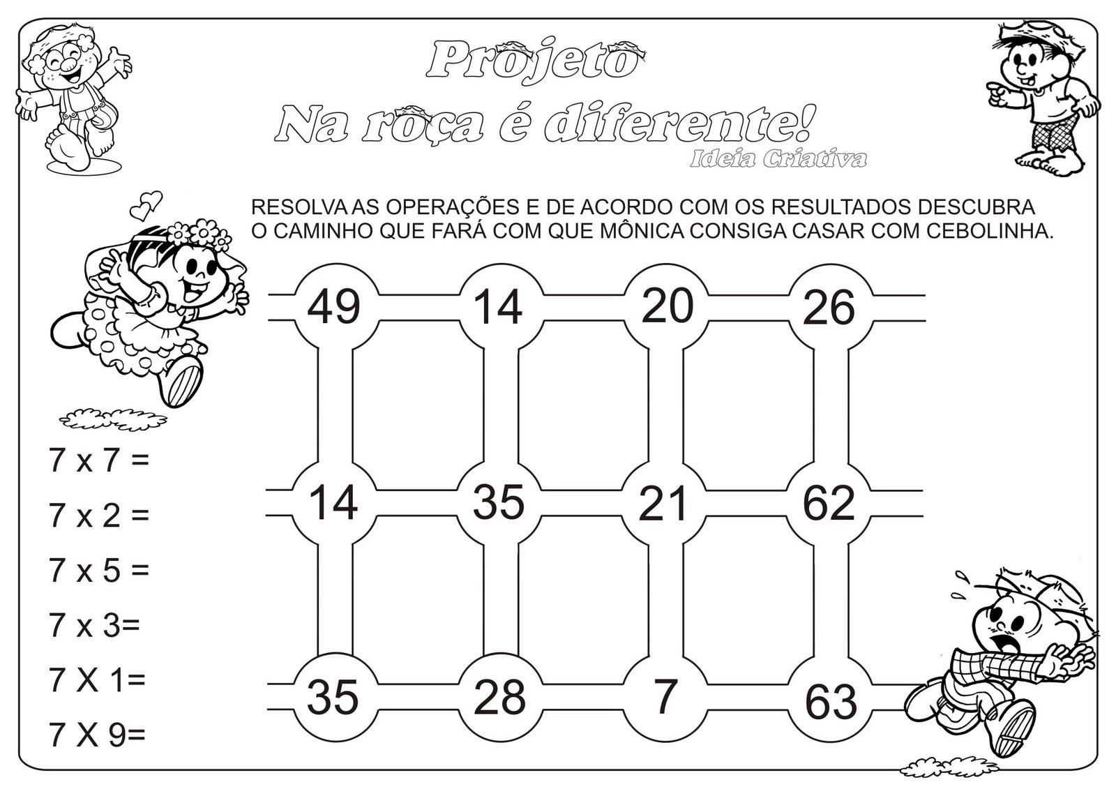 Atividade Multiplicação Tabuada 7 Temática Festas Juninas