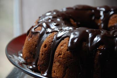 chocolate ribbon coffee cake with a milk chocolate ganache