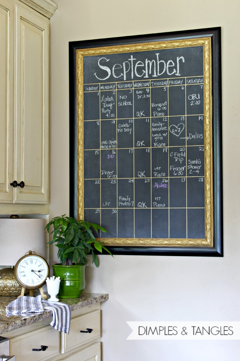 Diy Kitchen Calendar : Diy oversized chalkboard calendar dimples and tangles