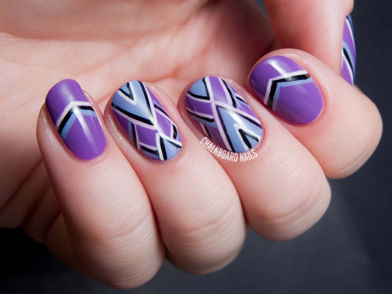 Purple periwinkle and points freehand chevron nail art purple periwinkle and points freehand chevron nail art prinsesfo Images