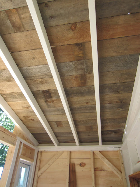 Relaxshacks a recycled barn wood fence plank ceiling