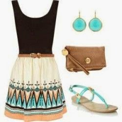 Lovely outfit idea for summer, with dress, handbag and shoes.