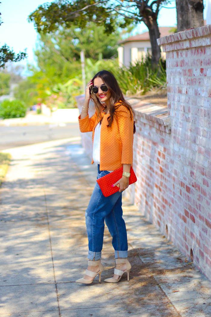 quilted jacket and boyfriend shorts, shoemint pumps
