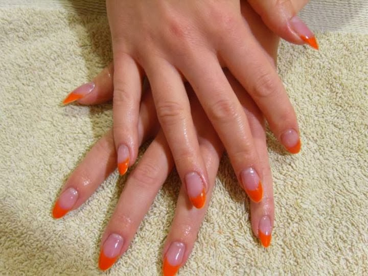 Simple and bright Almond Shaped Orange Acrylic Tip Application; for ...