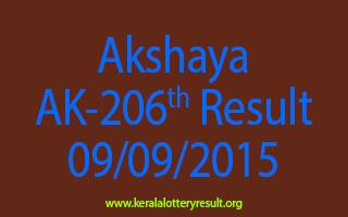 Akshaya AK 206 Lottery Result 9-9-2015