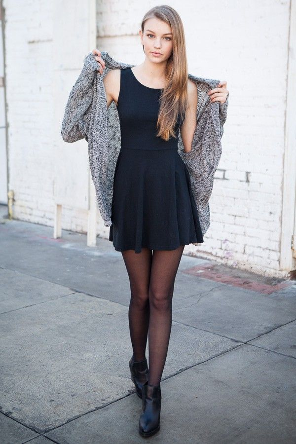 Street style | Little black dress, tights, grey cardigan, ankle boots