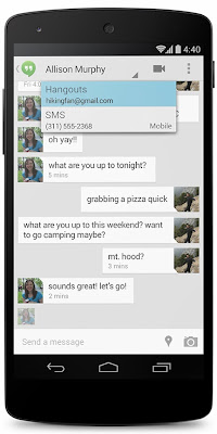 SMS and google+ chat in hangout