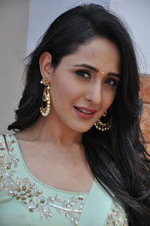 Pragya Jaiswal looks super cute in light green half saree Churidar at Kanche Movie Promotional Event