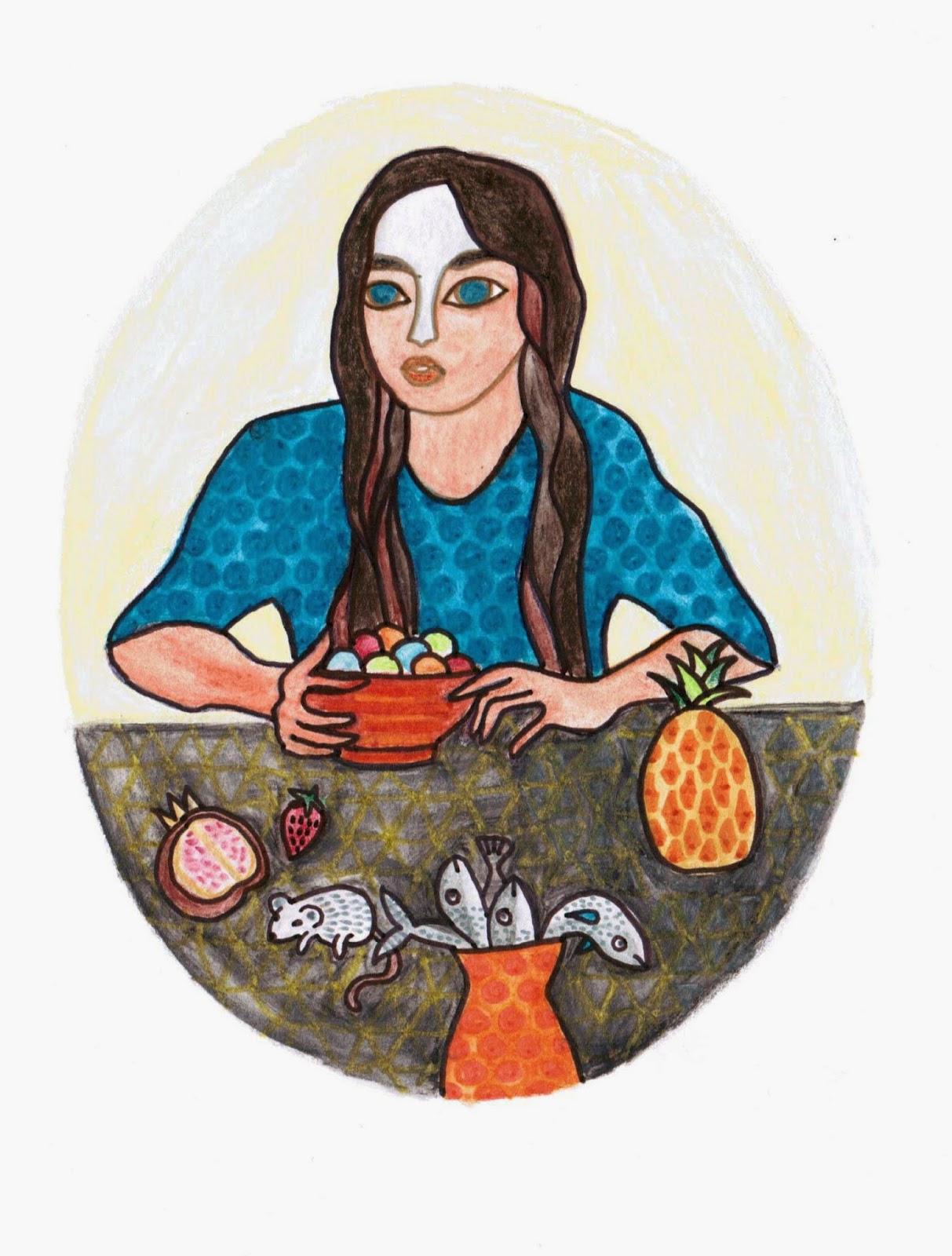 illustration jeunesse ado fille crayons de couleurs