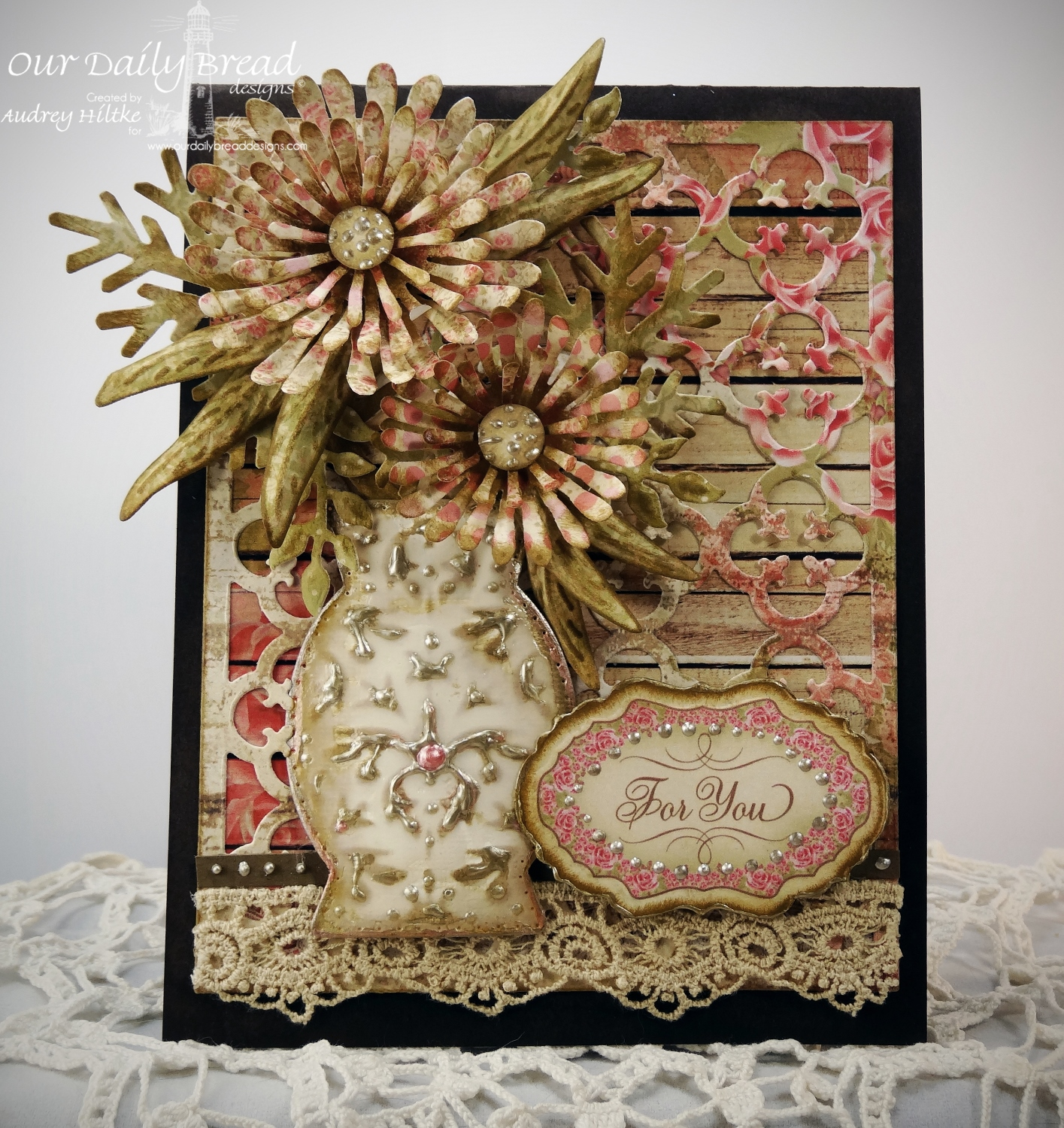 Our Daily Bread Designs Custom Asters and Leaves Die, ODBD Custom Decorative Vase Die, ODBD Custom Vintage Labels Die, ODBD Custom Fancy Foliage Die, ODBD Custom Quatrefoil Pattern Die, ODBD Blushing Rose Paper Collection