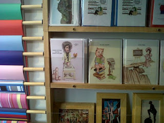 Twisted Titles greetings cards on display in 'Books on the Park'