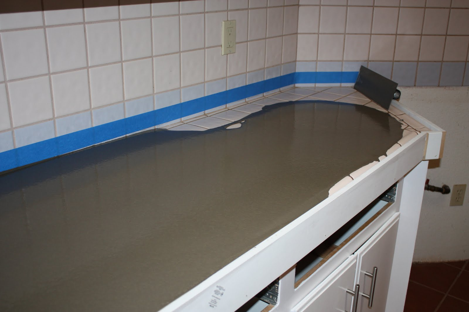 Kitchen Countertop Tiles Remodelaholic Quick Install Of Concrete Countertops Kitchen