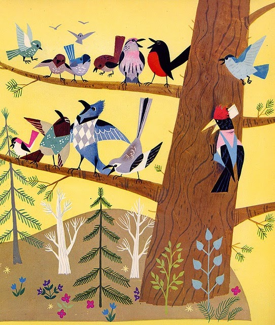 illustration by Alice and Martin Provensen of spring birds on a tree