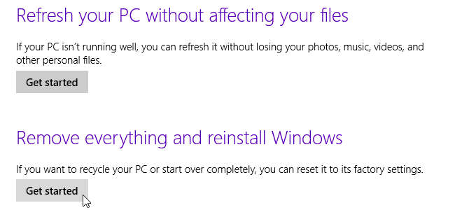 Windows 8 reset my pc
