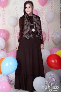 Nuhijab Dress Plain Rample (DPR) - Brown (Toko Jilbab dan Busana Muslimah Terbaru)