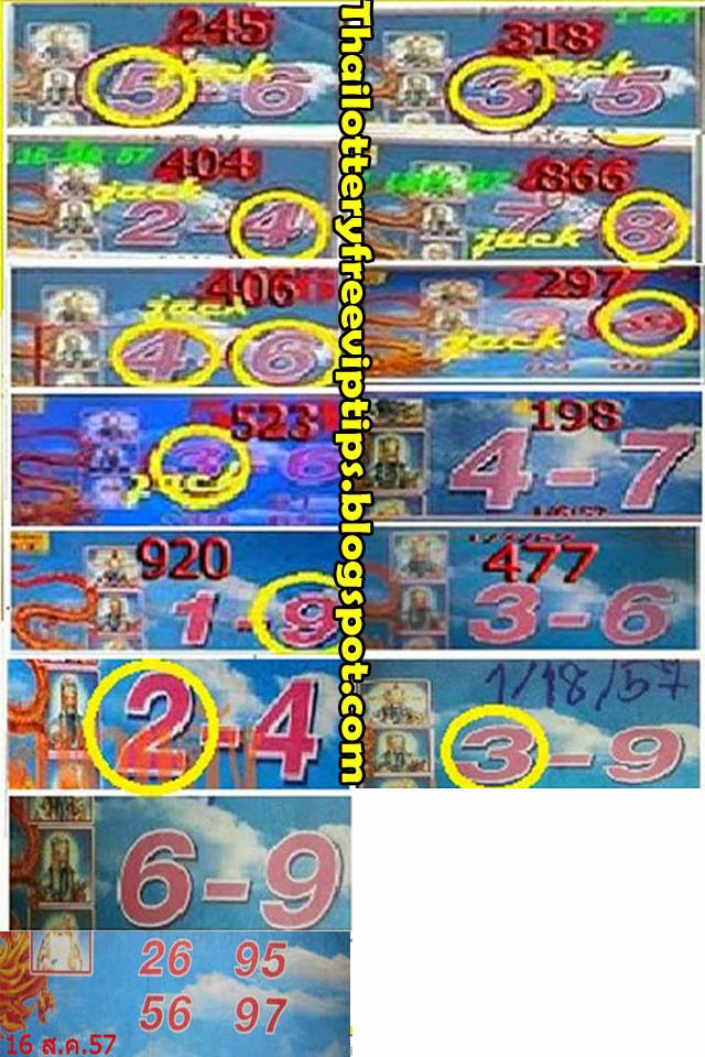 Thai Lottery Special Tip paper 16-08-2014