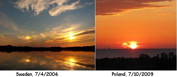 Two Suns over various countries