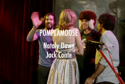 Jack waves goodbye next to Natalie, Carlos Cabrera and Ryan Lerman at credits live @ Hey it's Pomplamoose, 29 March 2011.