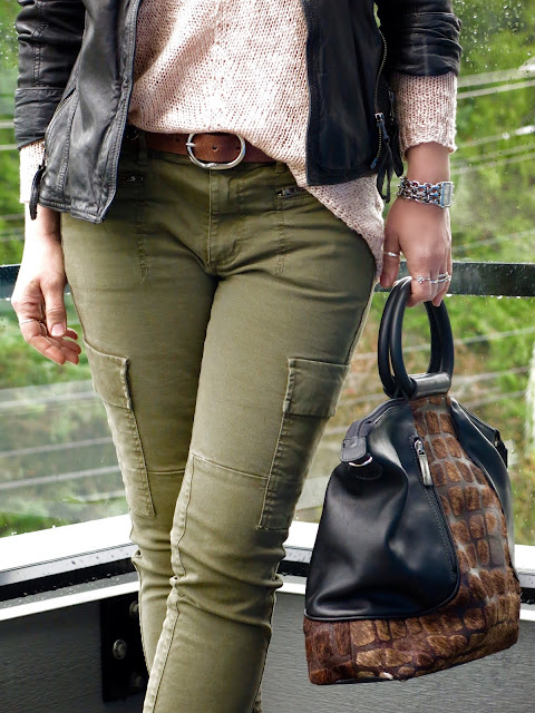 skinny cargo pants, drapey sweater, moto jacket, and Matteo Mio bag