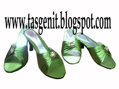 sandal pesta ibu dan anak hijau sendal big size