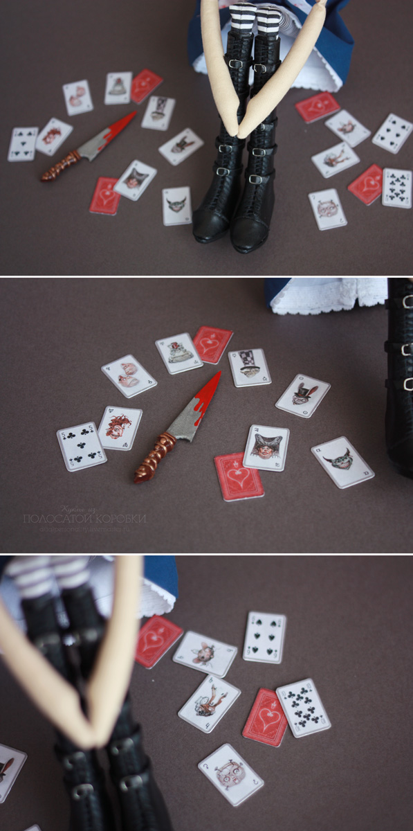 American McGee's Alice Doll. Кукла Алиса в Стране Чудес. Миниатюрные карты и нож