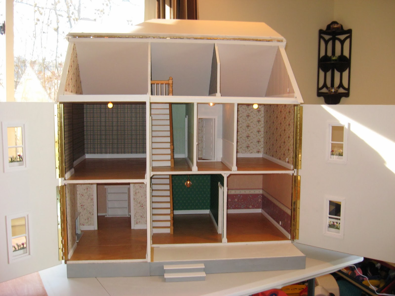 lighting for dollhouses. Run Through The Dollhouse With 6 Ceiling Fixtures Installed And 2 Outlets To Plug In Additional Lamps. (lamps Not Included). Total Package $450.00 Lighting For Dollhouses R