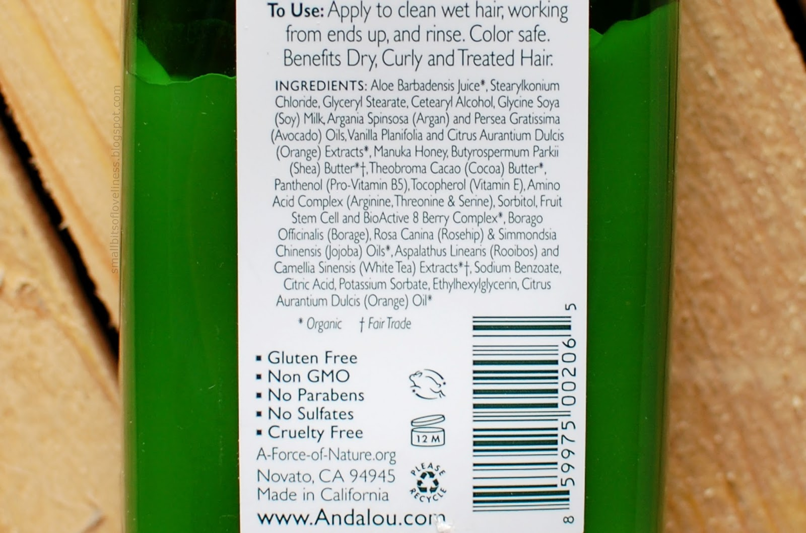 Andalou Naturals Argan & Sweet Orange Conditioner ingridients