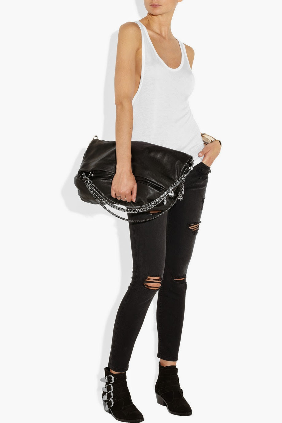 night out -  going out - outfit idea - racer back jersey tank top black ripped jeans and toga pulla boots