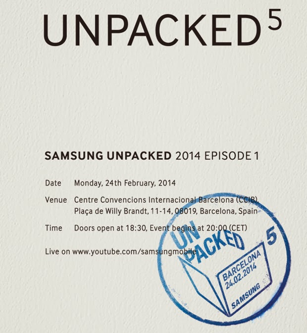 Samsung Galaxy S5 Unpacked 5 Event February 24 MWC