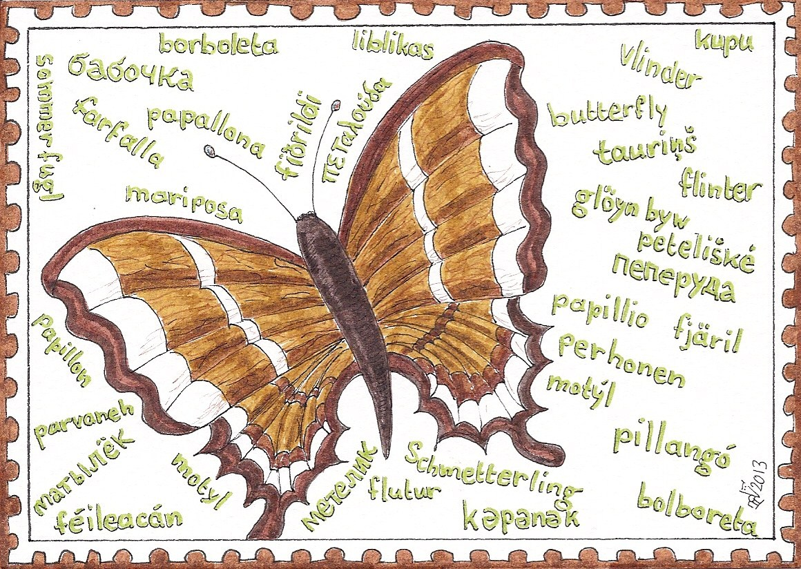 Heleen21 Mail Art Multilingual Vlinder Lidia Butterfly
