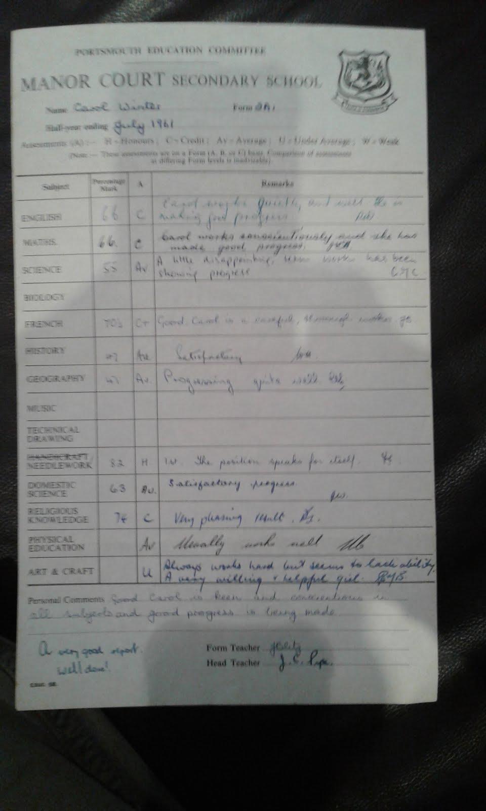 Carol Winters school report