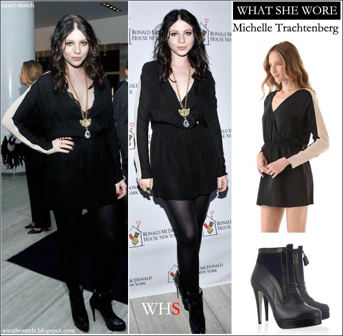 What She Wore Michelle Trachtenberg In Black Wrap Mini Dress And