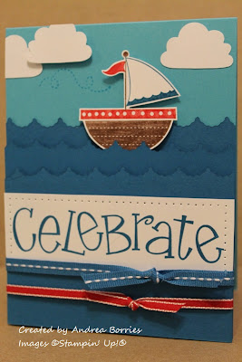 "Ocean themed card with layers of scalloped blue card stock layered to look like waves, a sailing ship, a few clouds in the sky and the sentiment ""celebrate.""."