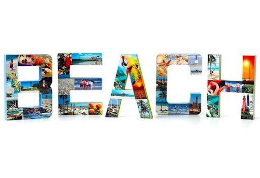 creative beach vacation photo display idea with letters