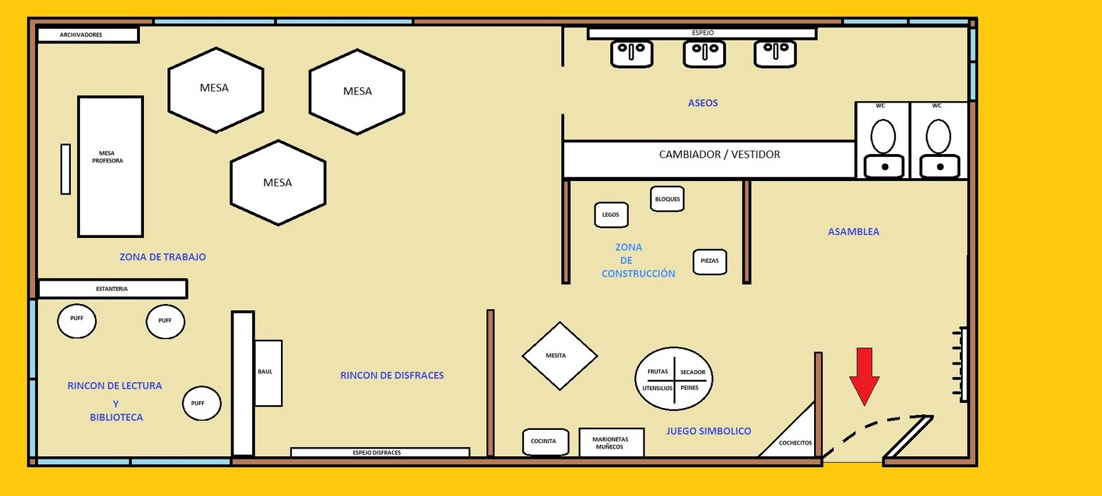09 aulas escuela infantil siete enanitos for Plano escuela infantil