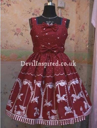 Cute Carousel Printed Rococo Lolita Dress