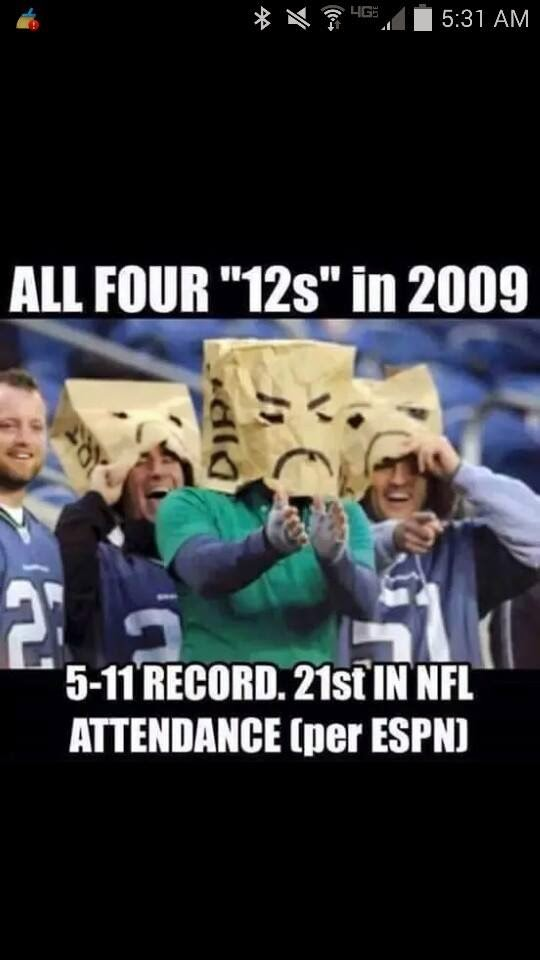 "all four ""12s"" in 2009 5-11 record. 21st in NFL attendance (per ESPN). #12s #2009 #five11record"