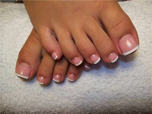 Classic French white gel pedicure acrylic Toe application cuticle oil and lotion