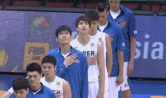 FIBA Asia 2013 Korean basketball team while singing their national anthem