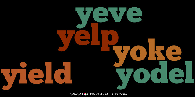positive verbs that start with y word cloud
