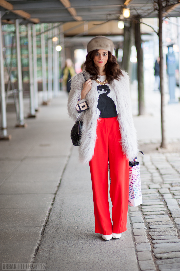 red pants fur hat coat