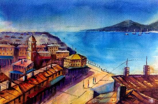 City Scape - IX, painting by Ivan Gomes (part of his portfolio on www.indiaart.com)