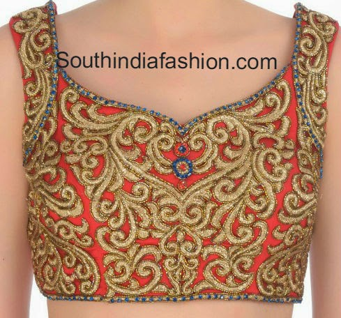 Zari Blouse Neck Designs 12