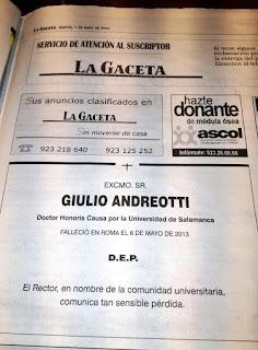 La Gaceta de Salamanca, 7 mayo 2013 - Esquela publicada por el Rector de la Universidad