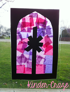 "Advent ""stained glass windows"" made from contact paper, black construction paper, and purple & pink tissue paper squares"