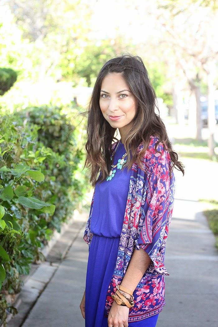 style a maxi dress with a kimono